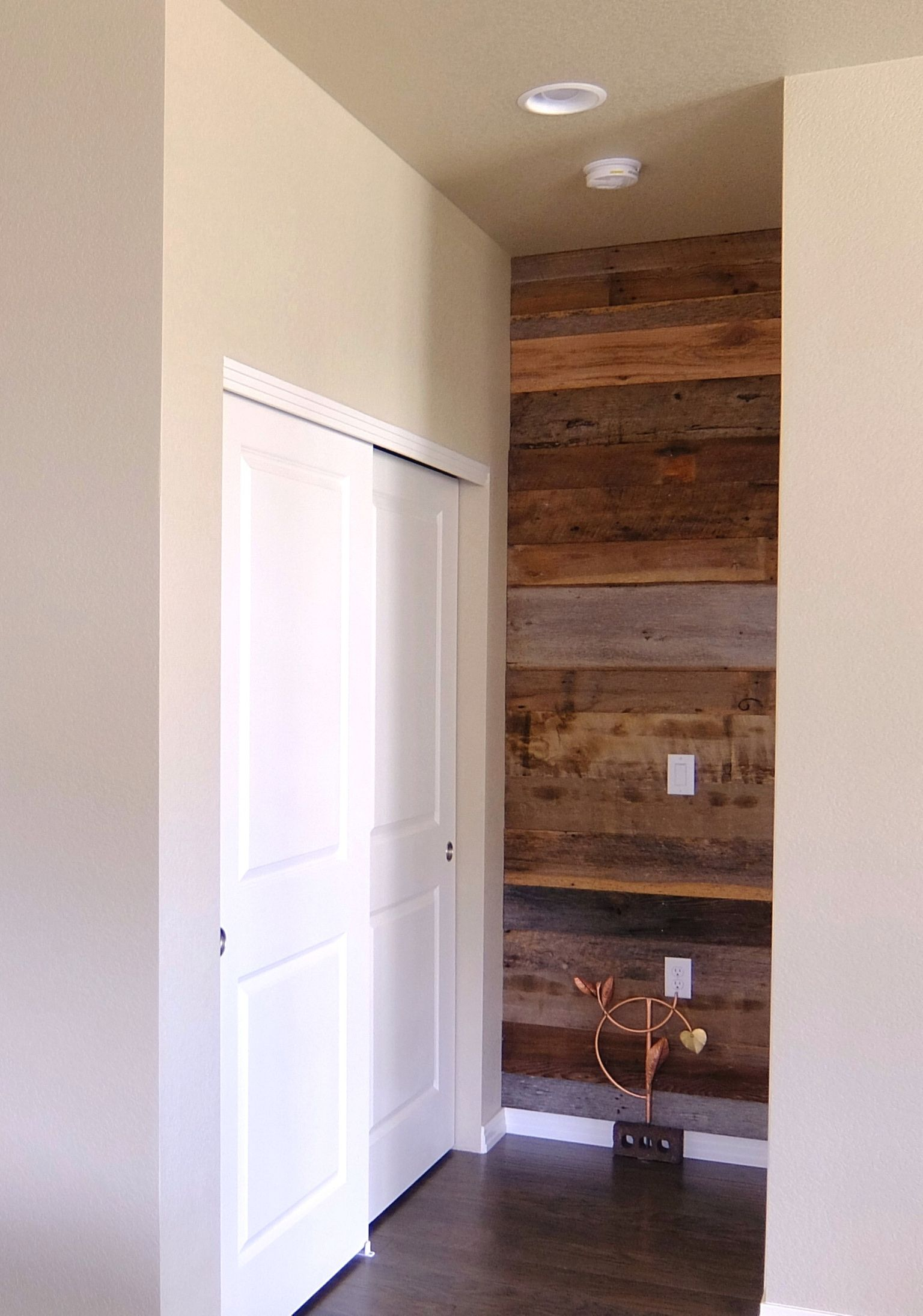 22 Ways To Boost And Refresh Your Bathroom By Adding Wood Accents: Thank You To Judy J. For Sharing This Photo Of Your Small Wood Accent Wall With Reclaimed Wood