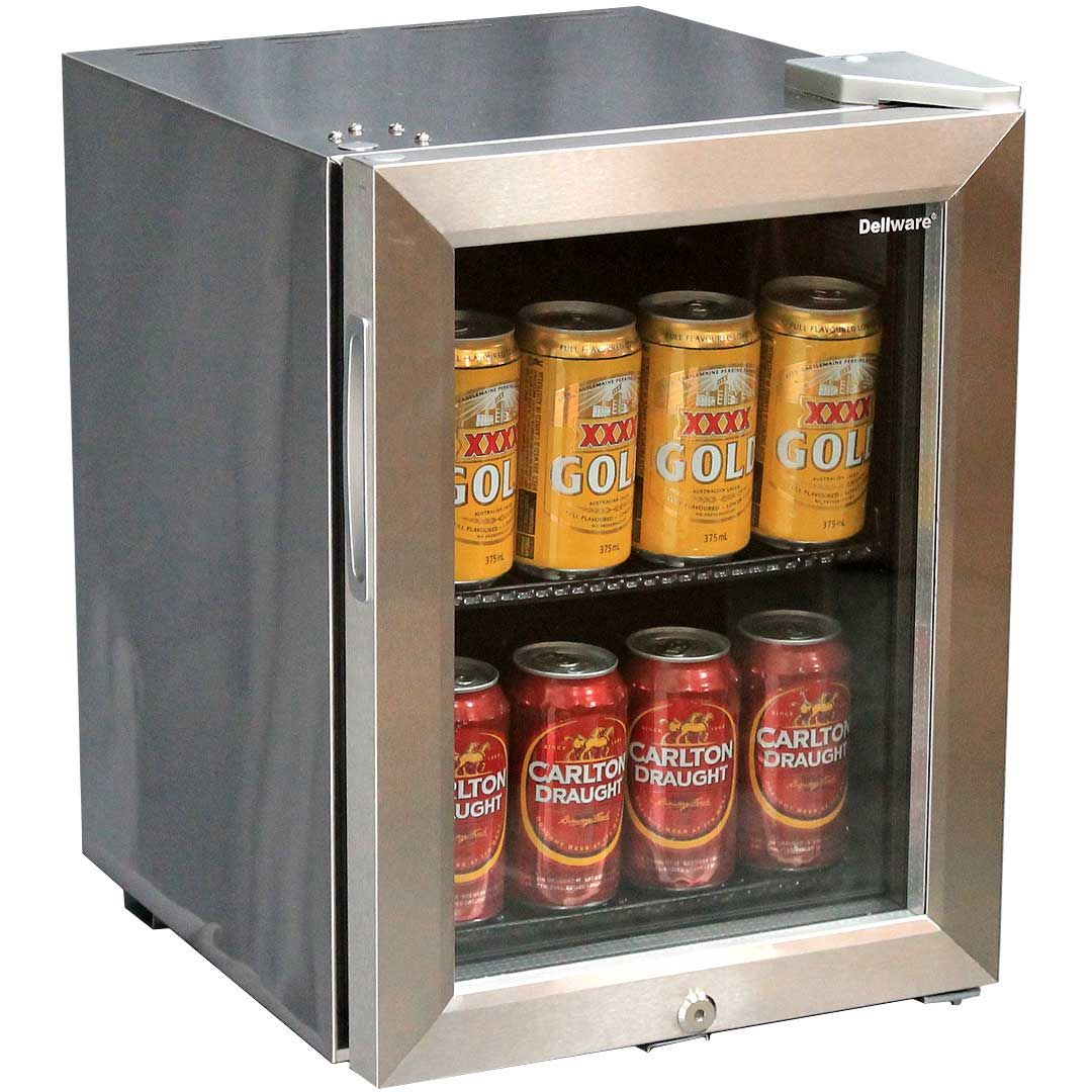Mini Glass Door Bar Fridge All Stainless Steel With Lock And Small Footprint