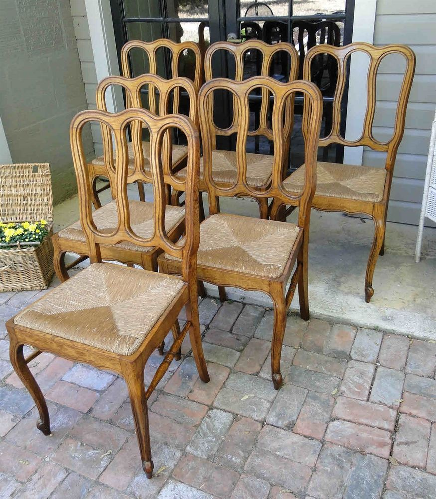 6 Antique French Dining Chairs Carved ~ Rush Seats ~ Oak Cabriole ...