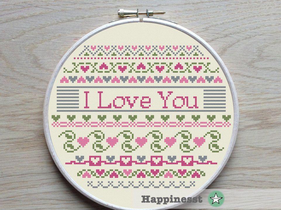 cross stitch pattern I love you hearts borders valentine