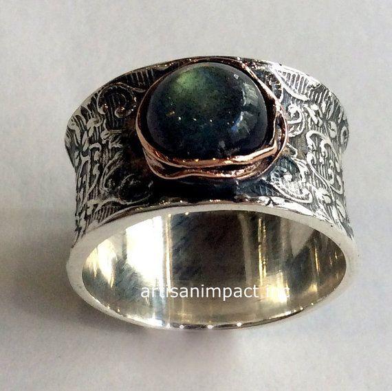 Labradorite ring statement ring Sterling Silver Rose gold Ring Filigree ring bohemian ring vine ring wide ring  Our story R2059