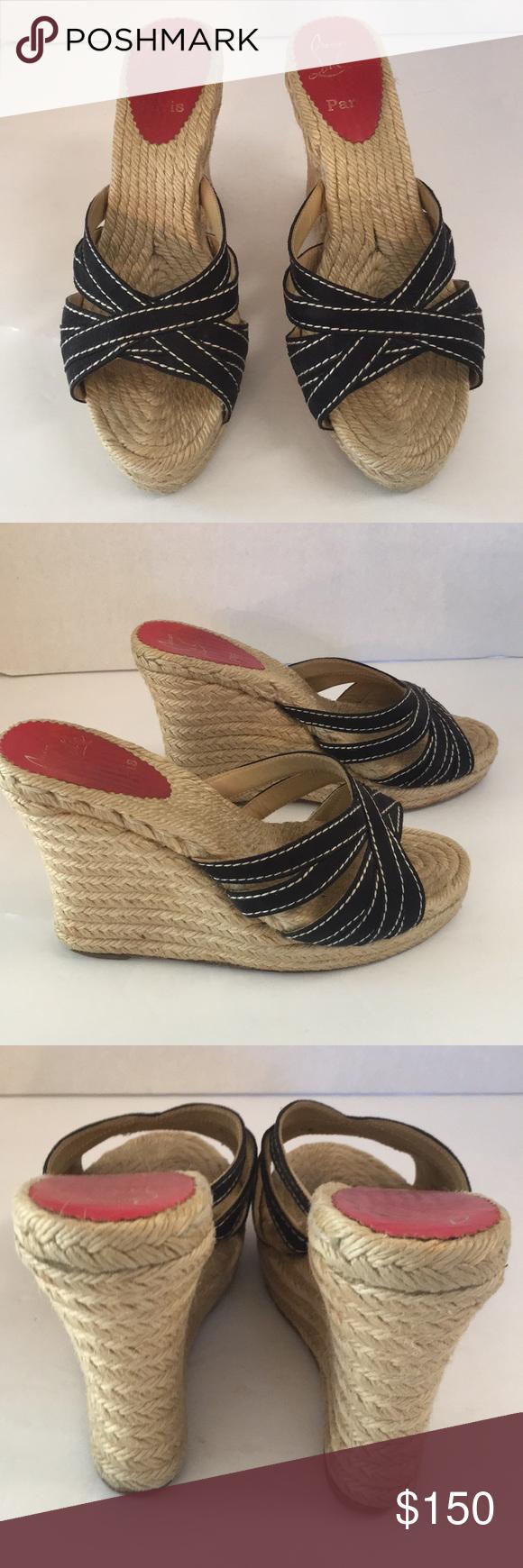 0ba313eb46b Christian Louboutin black espadrille wedge sandals Nice pair of ...