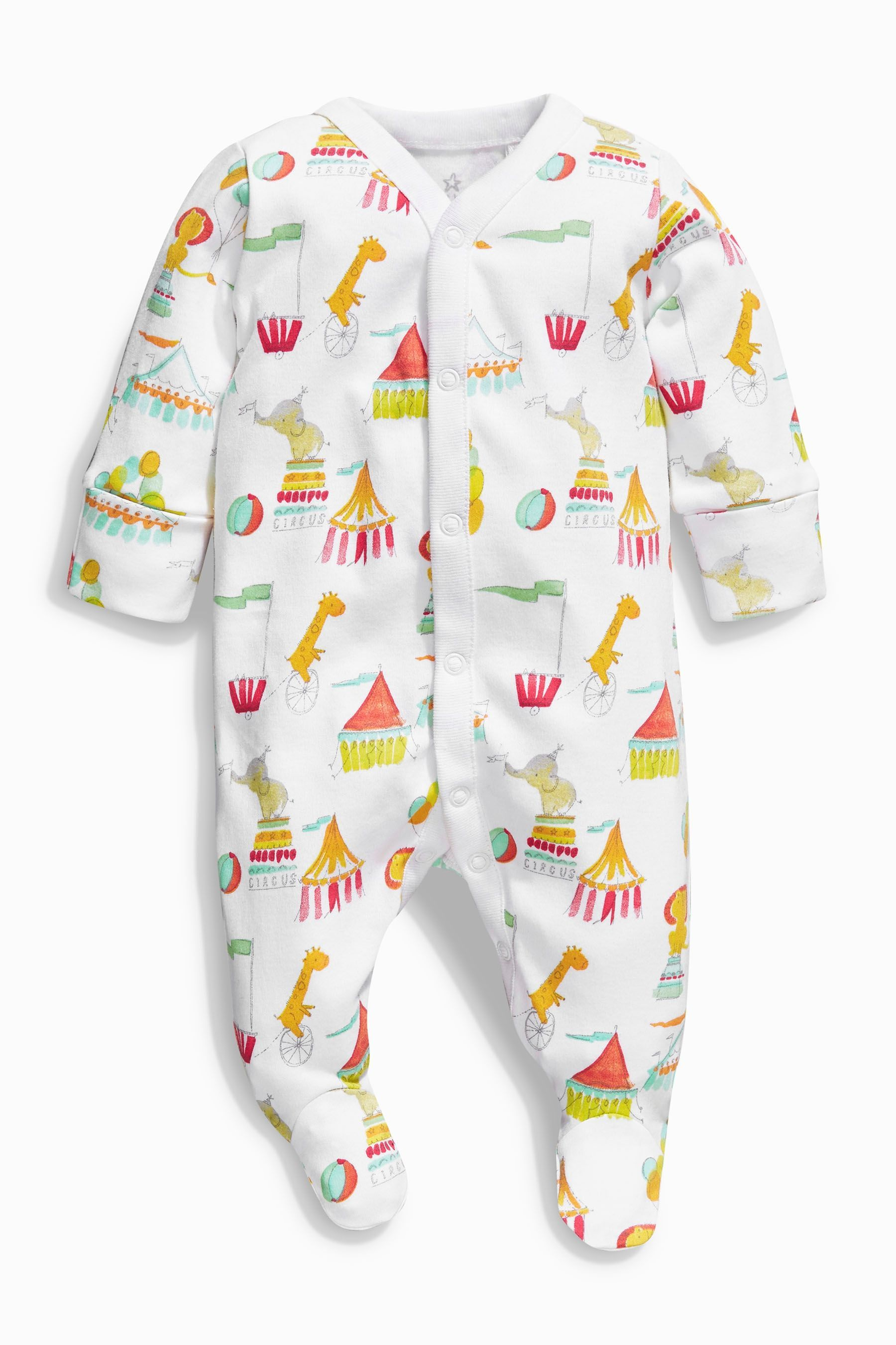 Buy Bright Circus Print Sleepsuits Three Pack (0mths-2yrs