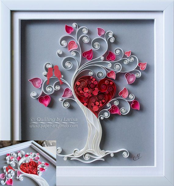 Quilling wall art paper quilling art love tree by Wall art paper designs
