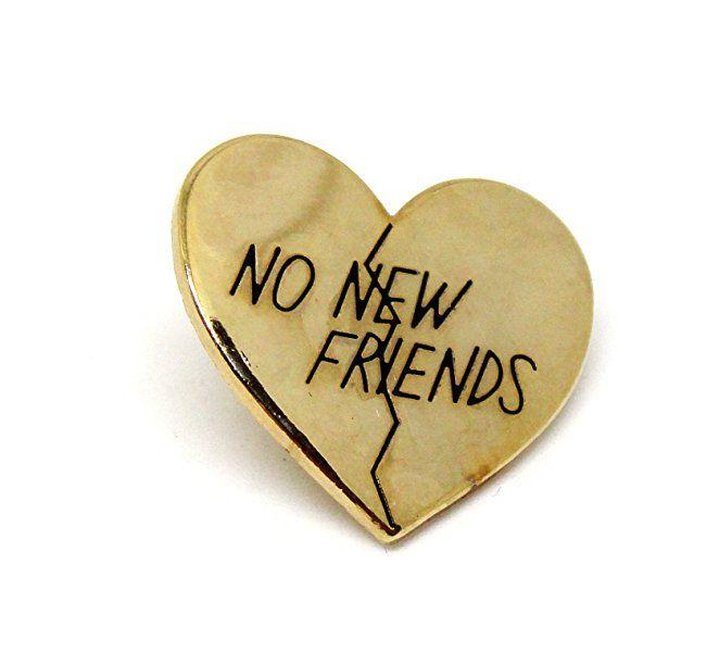 Gold Heart Lapel Pin - Now New Friends Internet Meme Antique | Lover