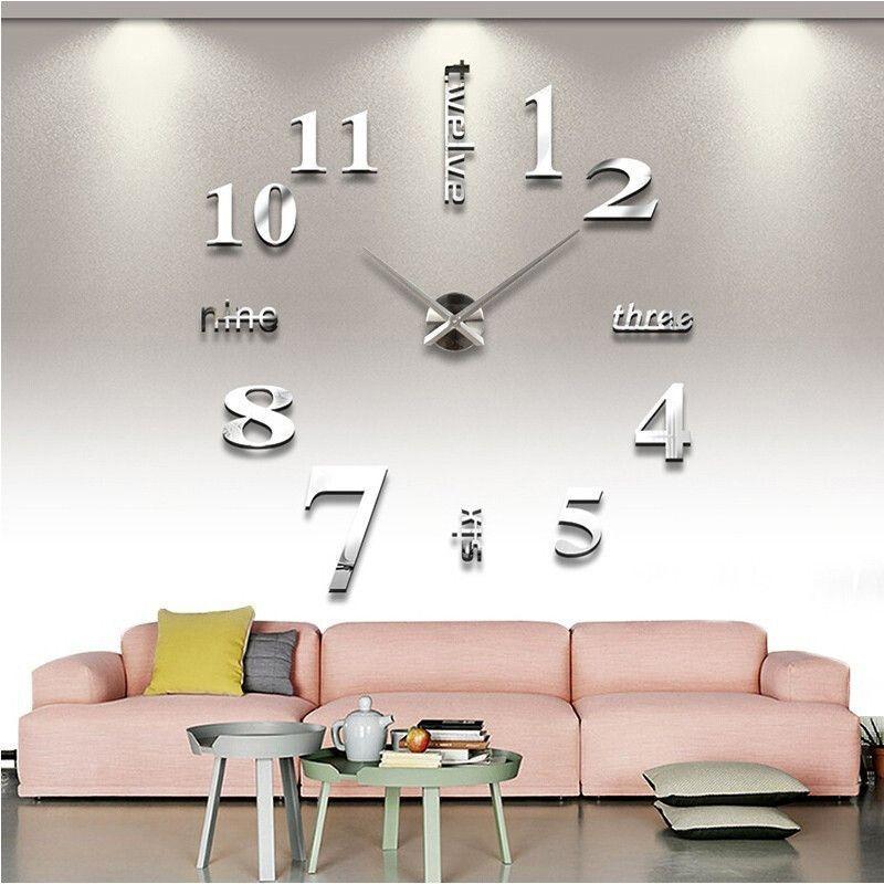 Large Modern 3D Mirrored DIY Wall Clock