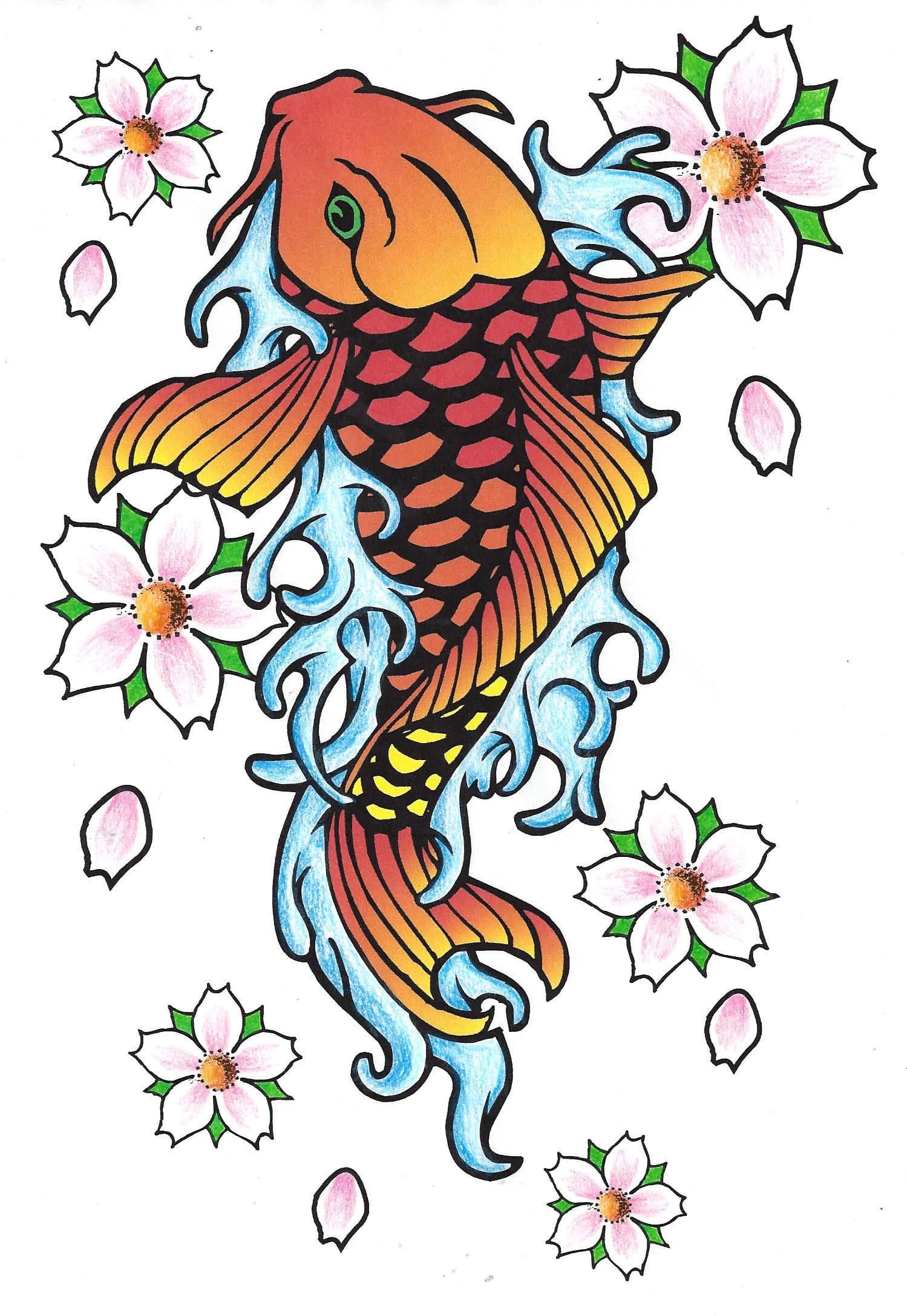 Koi Fish With Cherry Blossoms Fish Drawings Cherry Blossom Tattoo Drawings