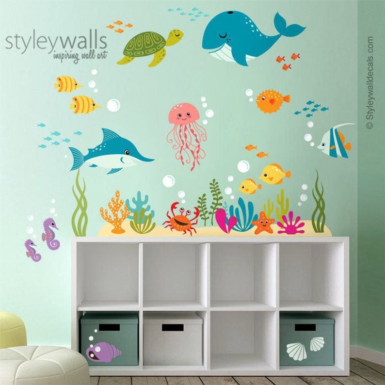 Under The Sea Wall Decal Fishes Wall Decal Ocean Wall Sticker