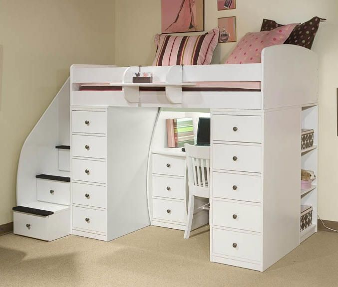 Carly Morgan Twin Size Stairway Loft Kids Loft Beds Bunk Bed