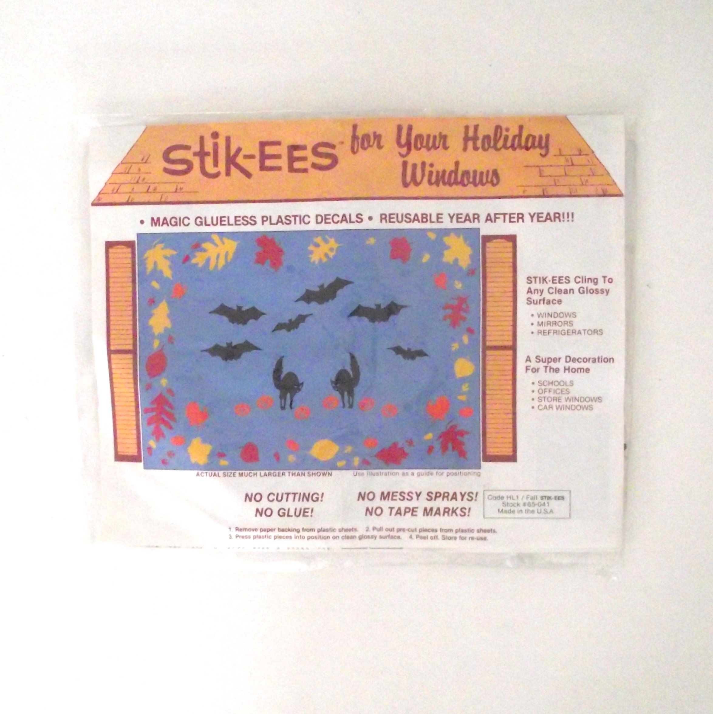 Vintage halloween window decorations - Vintage Halloween And Fall Window Decorations Stik Ees Brand Cling Decorations
