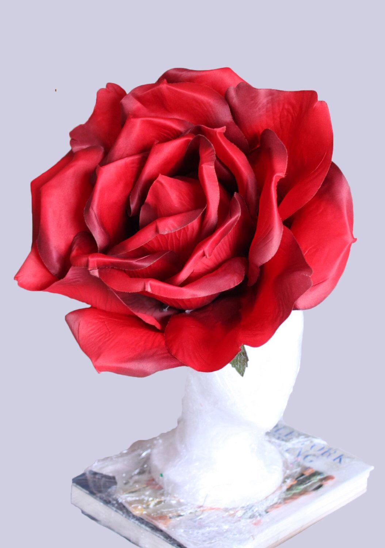 Red Giant Rose Hat Huge Red Rose Fascinator Races Headpiece Etsy Rose Hat Giant Roses Rose Costume