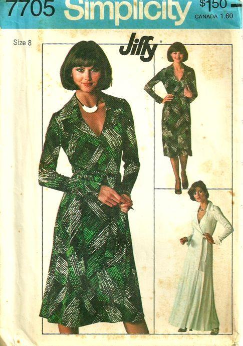 Front Wrap Dress Pattern Simplicity 7705 Vintage 70s Size 8 Bust 31 ...