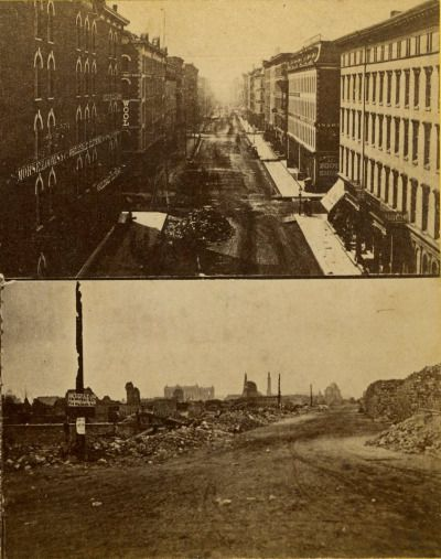 Before And After Photos Of The Great Fire Looking South On Wabash