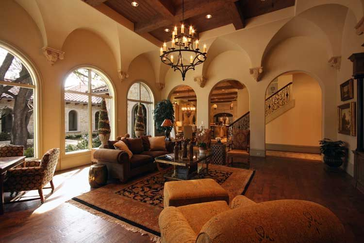 Italian Renaissance family room designed by Tracy Rasor, Dallas Design Group Interiors, and built by Sharif and Munir Custom Homes on Kelsey in Dallas, TX.