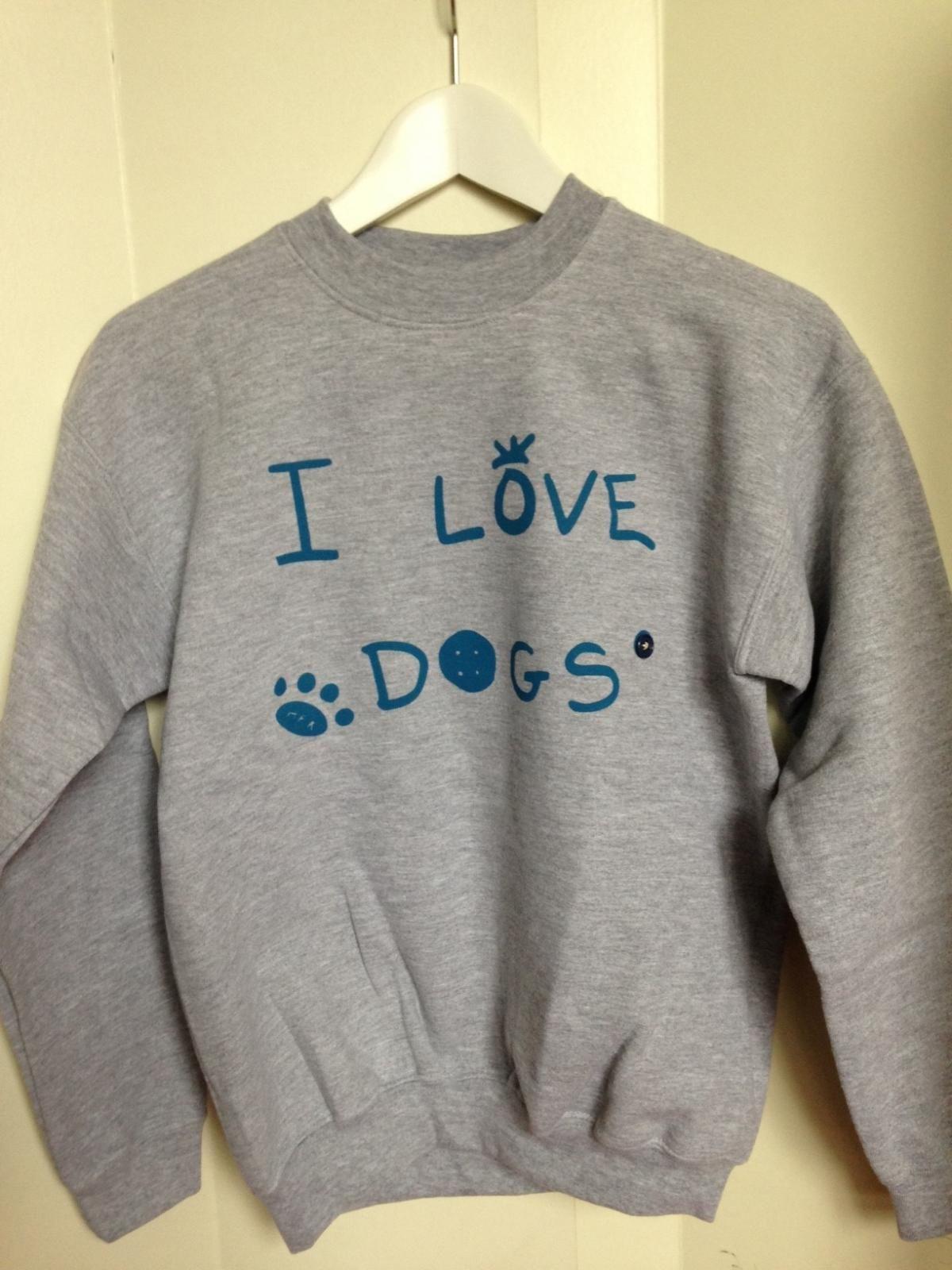 """Sudadera sin capucha """" I love dogs """" en gris niño y niña"""