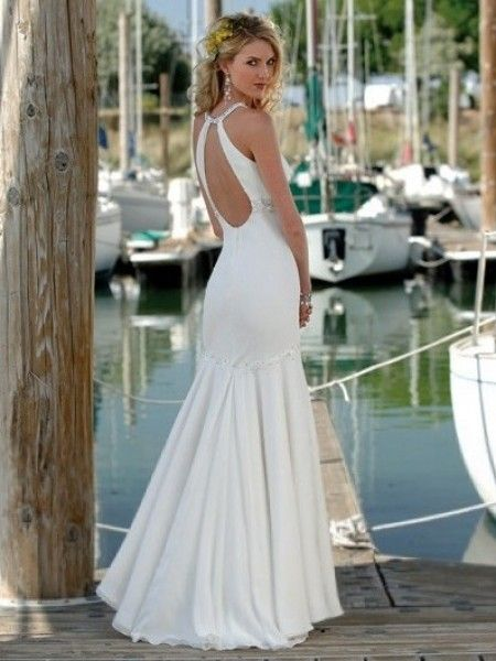 Bridalup SUPPLIES Simple Trumpet Mermaid Halter Court Trains Sleeveless Beach Wedding Dresses For