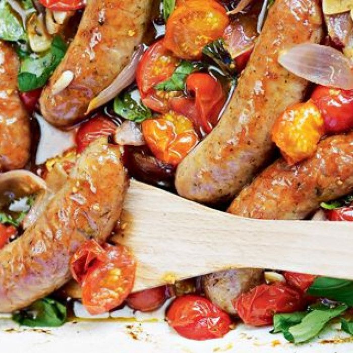 Oven-Baked Sausages and Balsamic Tomatoes | Bake sausage ...