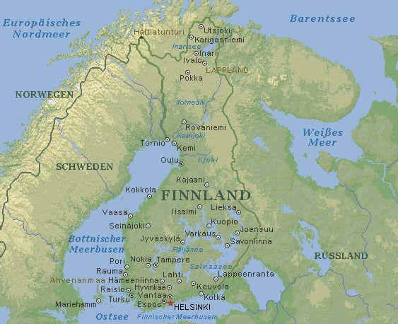 Finnland Karte Im Finnland Reisefuhrer Http Www Abenteurer Net