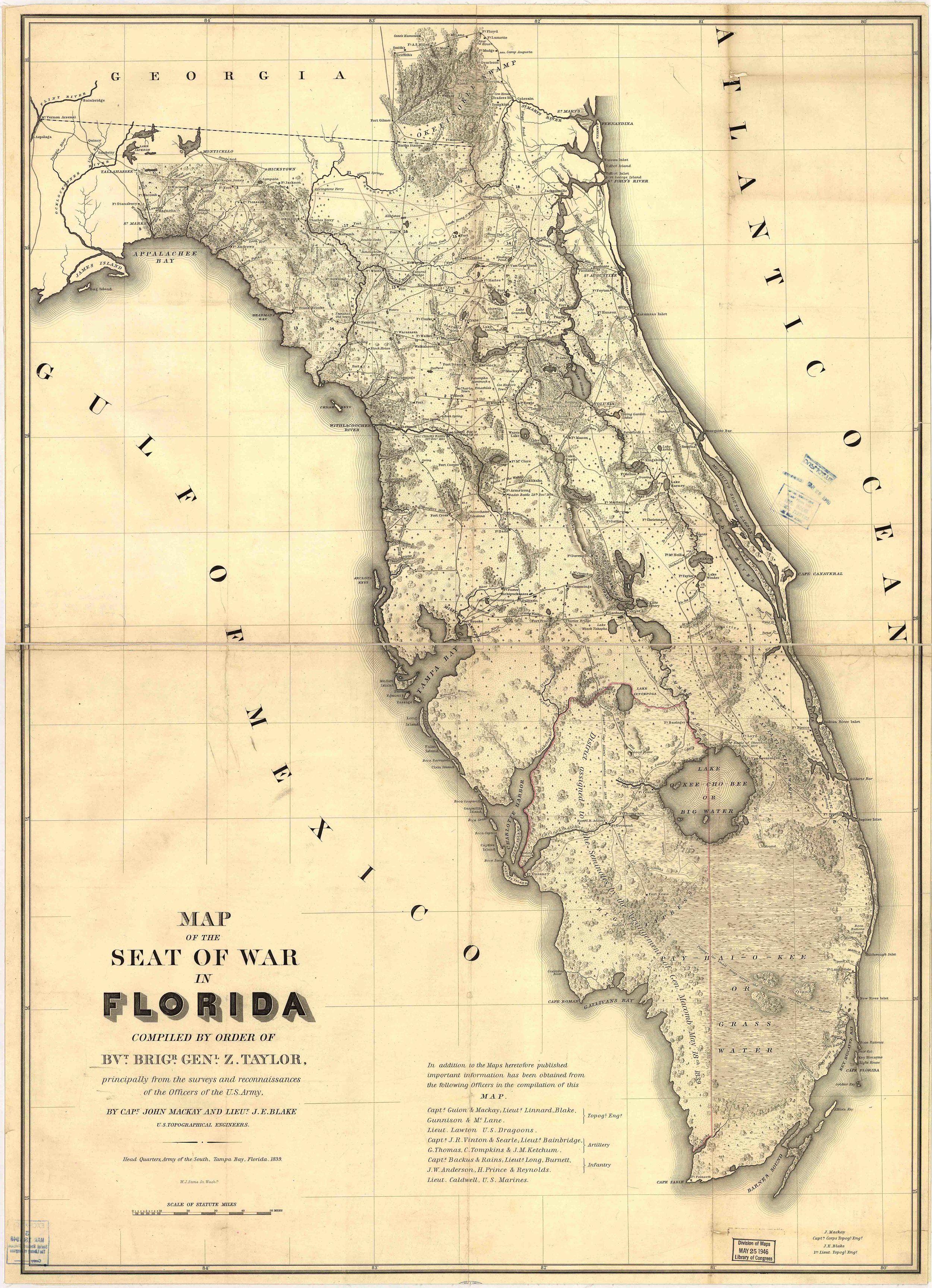 Seminole Florida Map.Florida Historical Vintage State Map Vintage Press Co Map