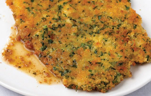 pork escalopes with breadcrumb and parsely crust