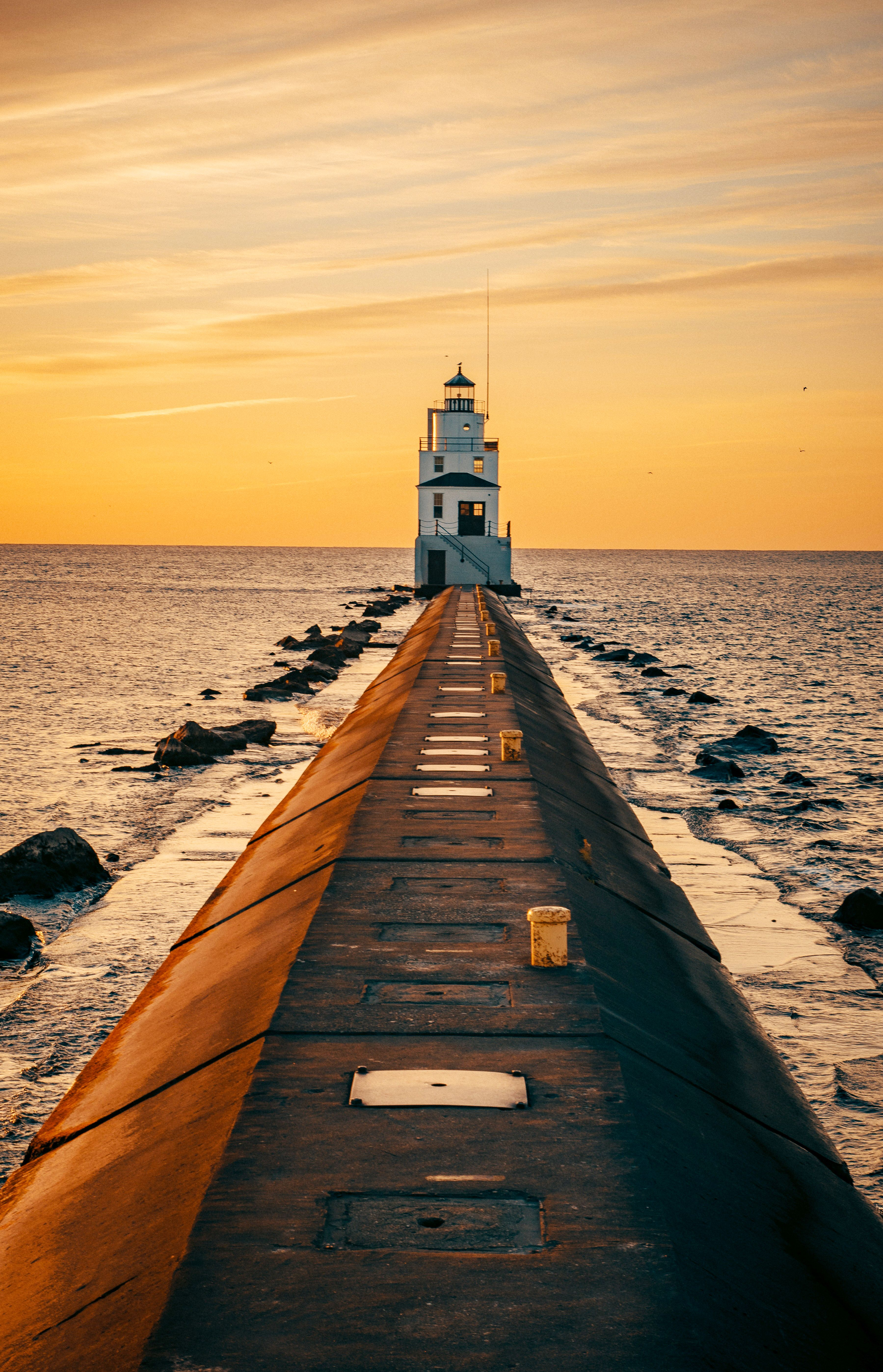 Evening by the sea. Lighthouse. in 2020 Mobile wallpaper