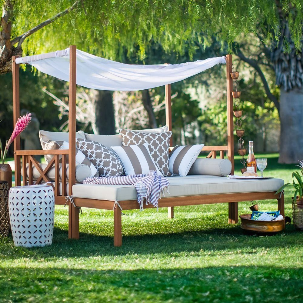 Outdoor Patio Daybed With Ottoman 2 Piece Wooden Lounge ...