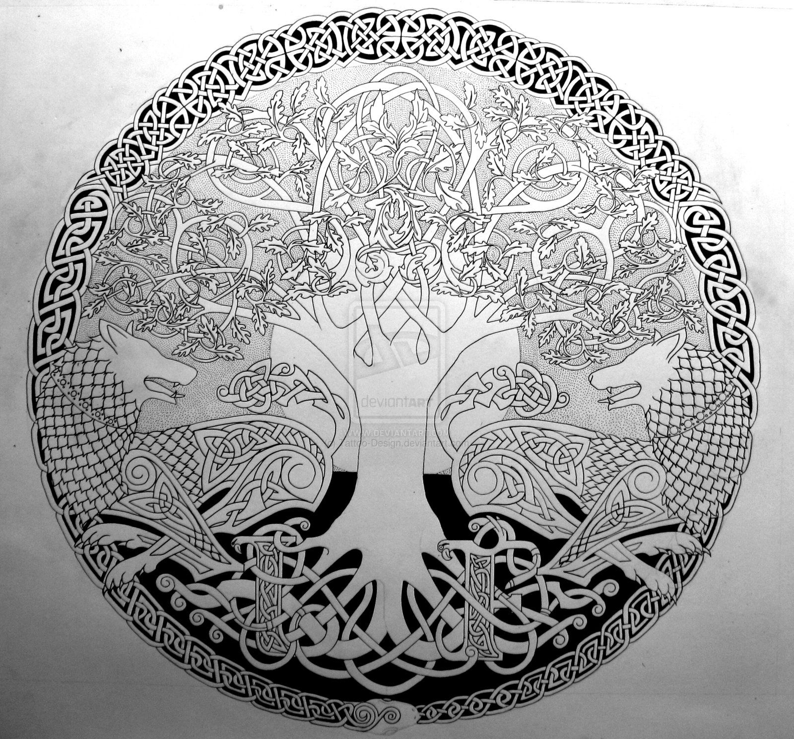 Two Wolves Sigil Outline By Tattoo Design On Deviantart Tree Of Life Tattoo Yggdrasil Tattoo Celtic Tree