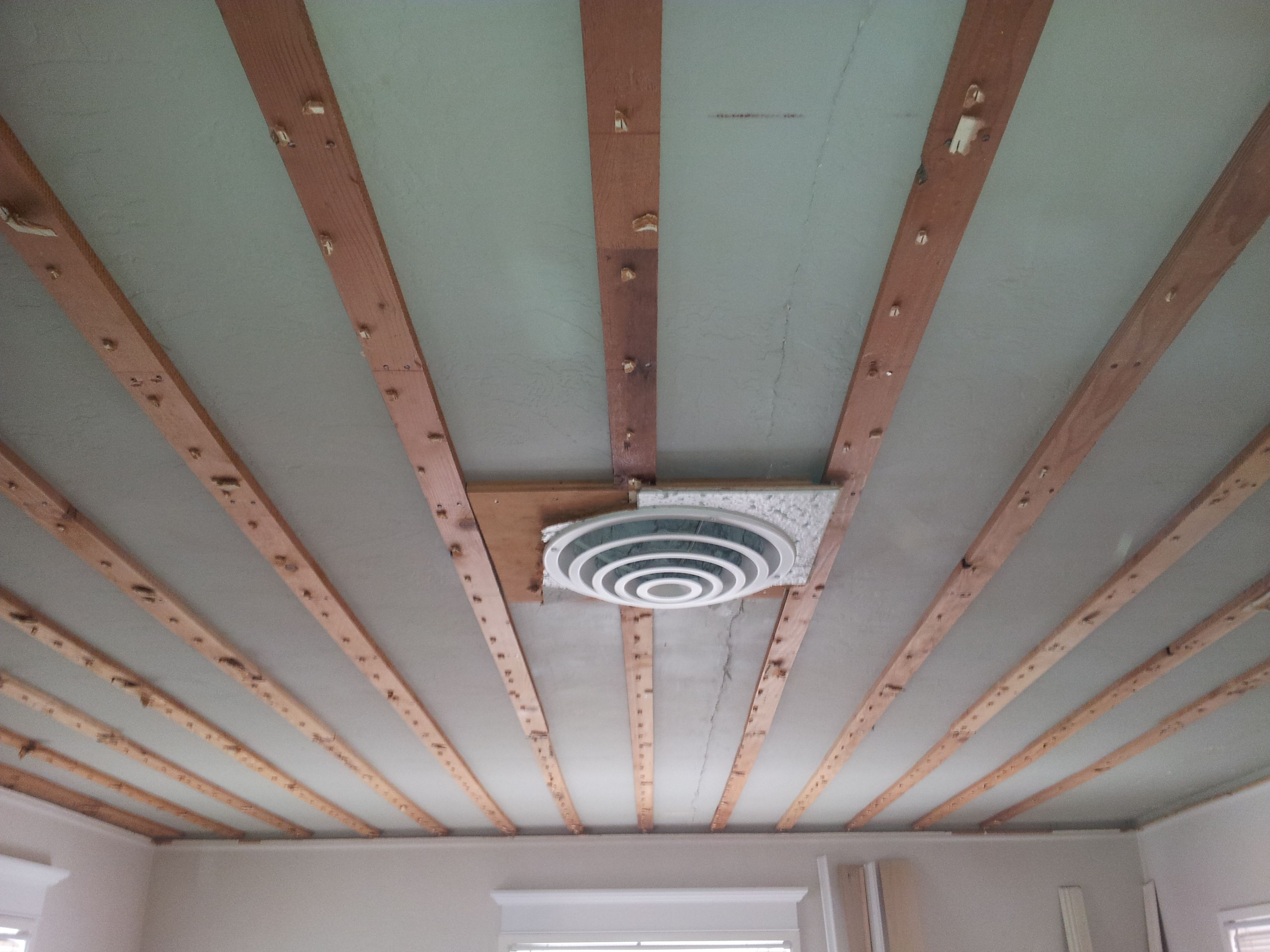 Acoustic Ceiling Removed Exposing The Furring Strips Living Room Remodel Ceiling Lights Ceiling