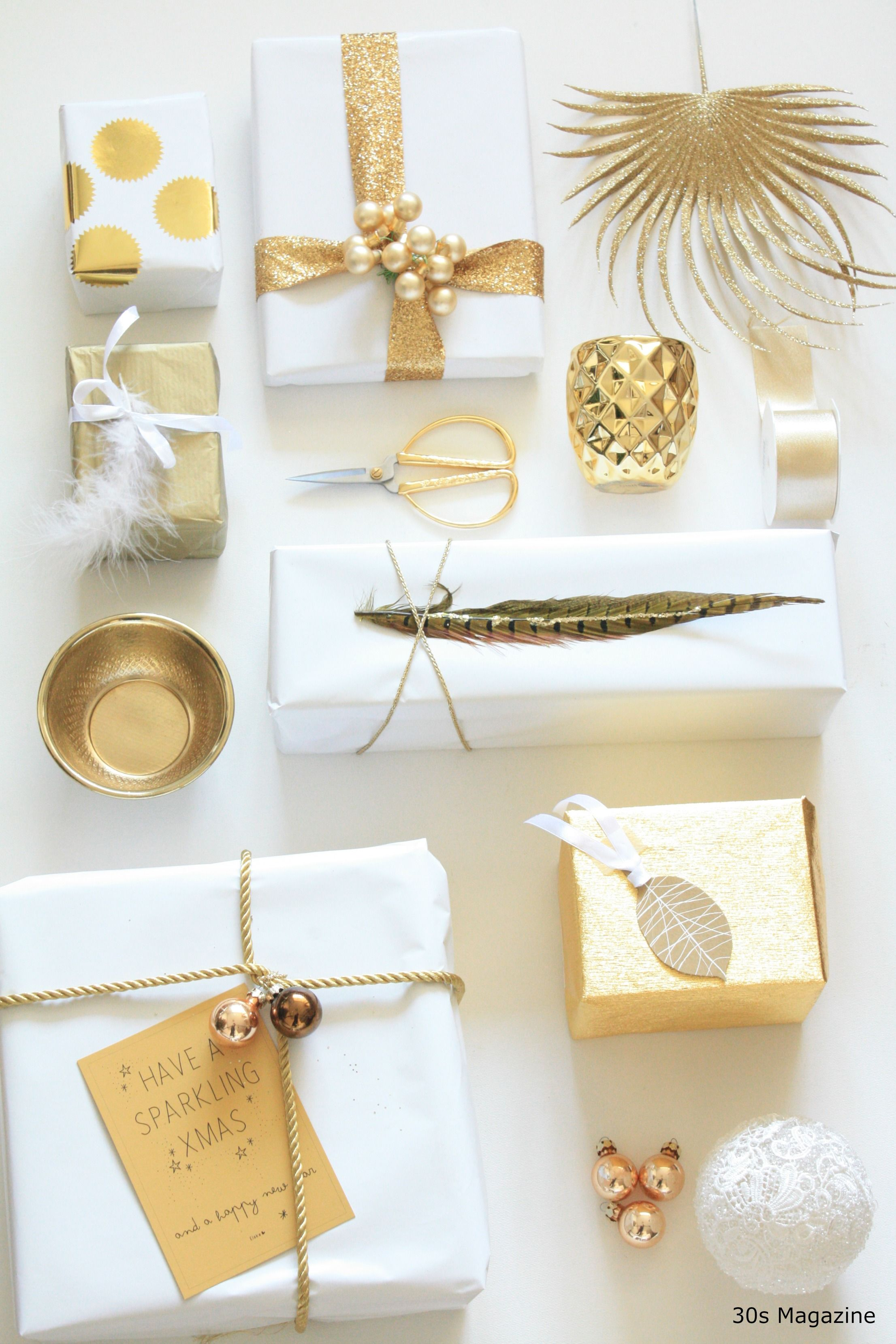 Gift Wrapping in white and gold   Wrapping, Wraps and Gift wrapping