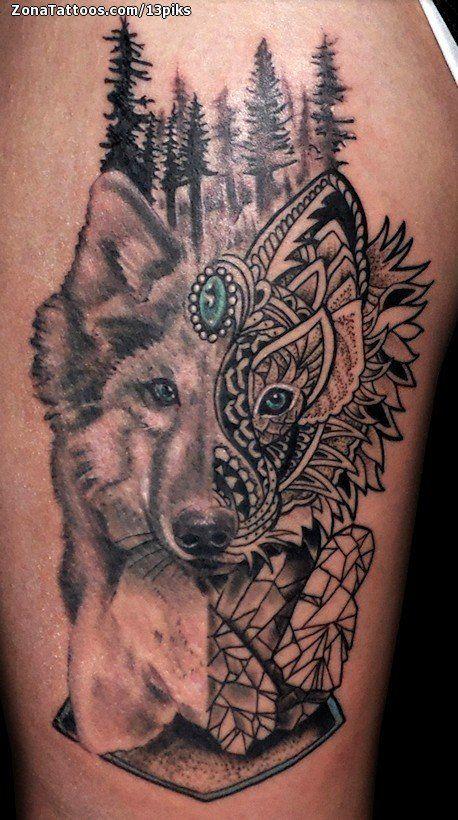 Tatuaje de Lobos, Animales, Árboles Tatuajes