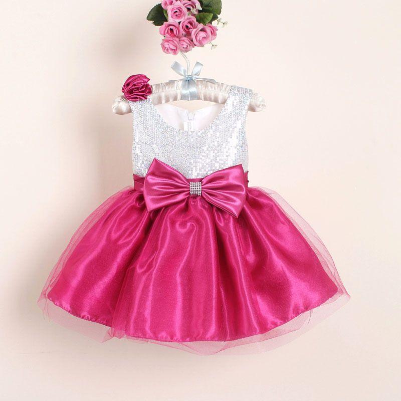 Nouvelle De Noël Fleur Fille Robes Chaude Rouge Sequin Grand Arc ...