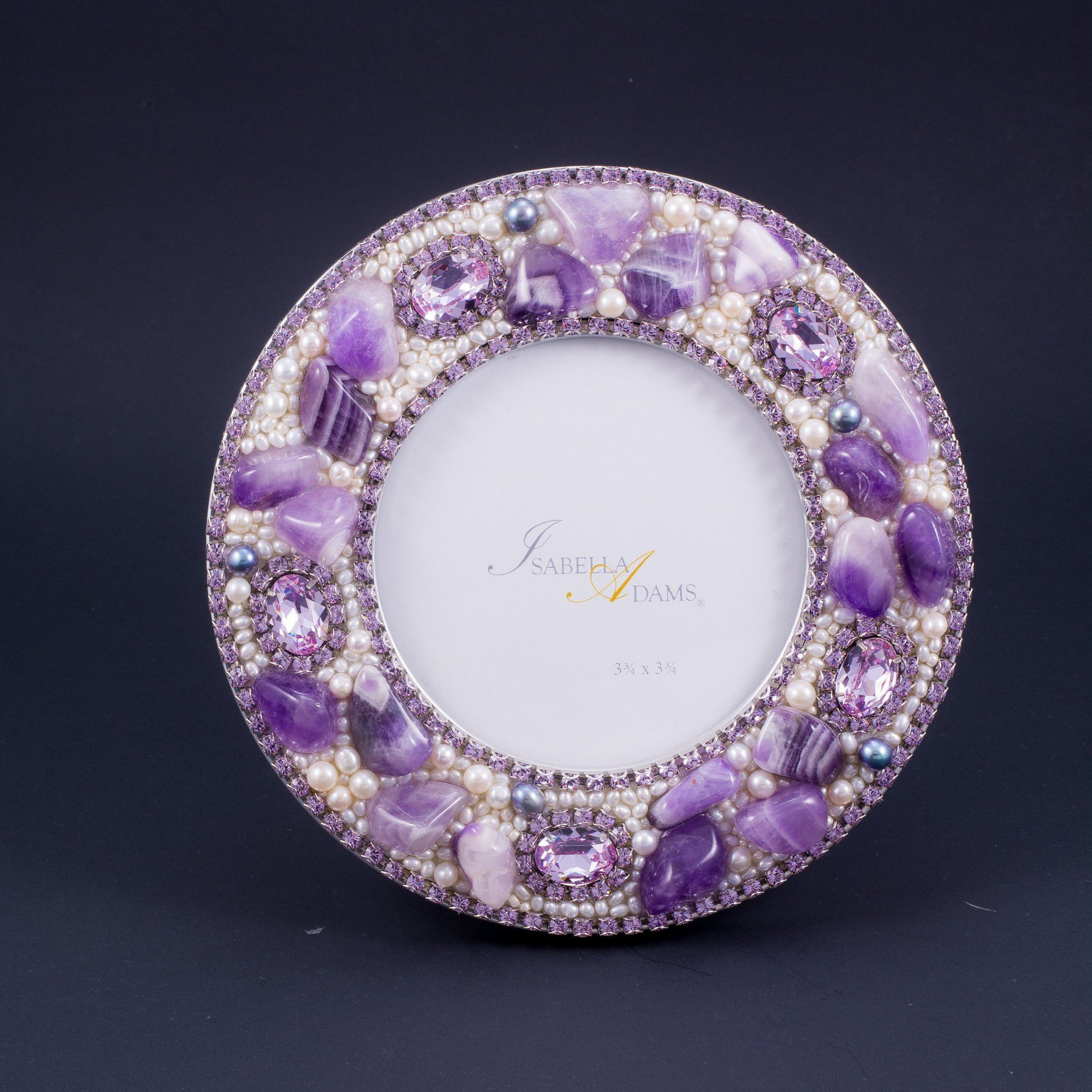 "6"" Round Picture Frame Featuring Swarovski © Crystals and Violet Mix Gemstones"