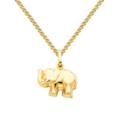 14k yellow gold elephant charm pendant with 15mm flat open wheat 14k yellow gold elephant charm pendant with 15mm flat open wheat chain necklace 18 read more at the image linkit is amazon affiliate link aloadofball Choice Image