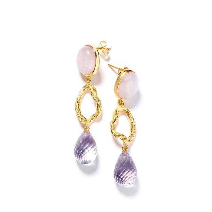 Kunzite Amethyst Silver Earrings Gemporia