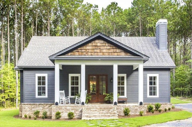 Storybook Bungalow With Large Front And Back Porches House Etsy Architectural Design House Plans House Plans Farmhouse Bungalow House Plans