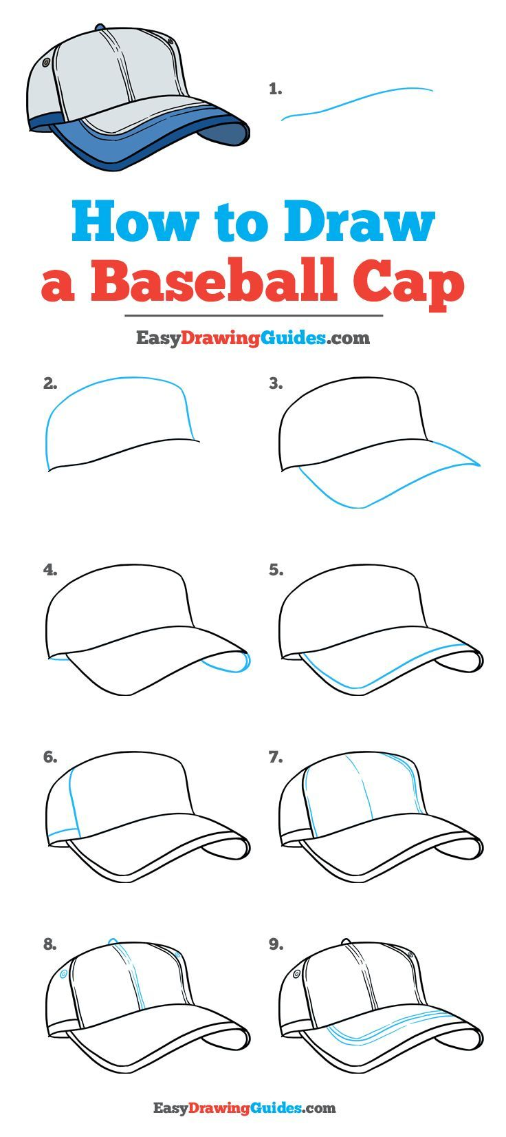 How to Draw a Baseball Cap - Really Easy Drawing Tutorial