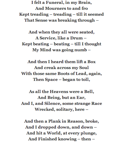 Emily Dickinson-I Felt A Funeral, In My Brain   Poetry