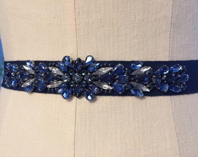 Marine, diepblauwe Crystal verfraaid middernacht Grosgrain lint bruidsmeisjes Sash, bruids gordel, moeder van de bruid raamvleugel