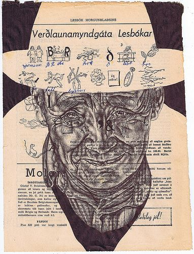 'rainy days slip by (as the sun melts the clouds)' Bic biro drawing on a 1950s Icelandic newspaper. BY MARK POWELL