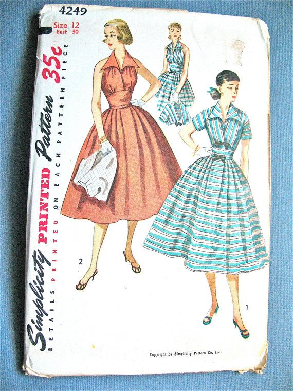 Uncut 50s Halter Dress Vintage Sewing Pattern Fitted Bodice  Full Skirt Short Jacket Bolero Simplicity 3238  Bust 30 inches