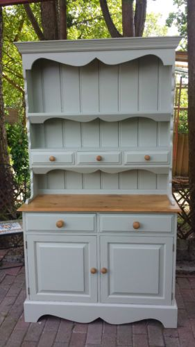 Details about Shabby Chic Solid Pine Welsh Dresser Painted In Farrow ...
