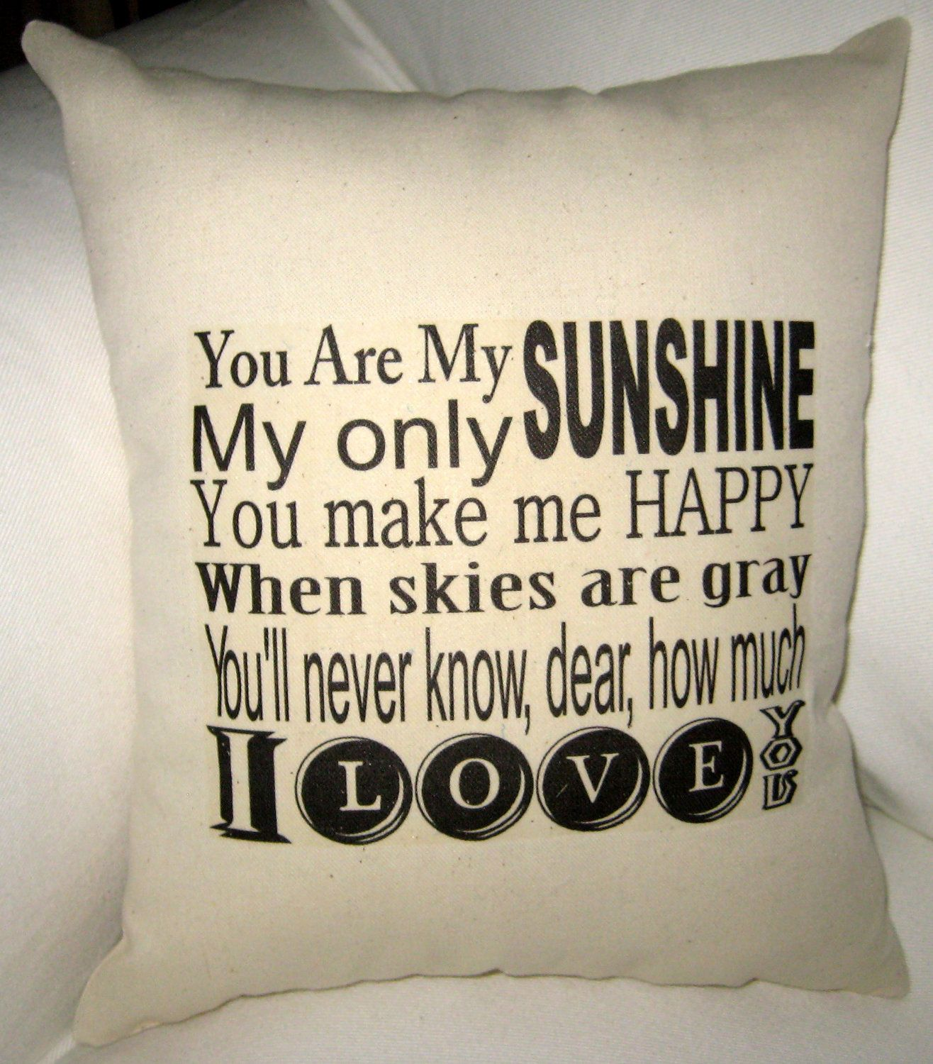 You are my sunshine pillow baby room typography cushion modern
