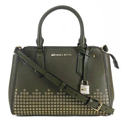 b029f843eb7a45 Michael Kors Hayes Medium Messenger Green Leather Satchel - Tradesy ...
