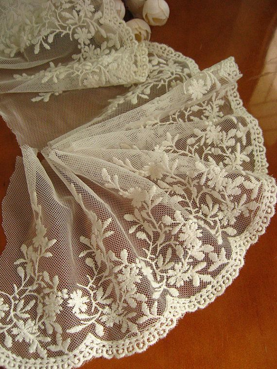 Lace Trim White Embroidered Lace Vintage Lace Gauze Lace Scollaped Tulle Lace Bridal Lace 2 Yar White Lace Fabric Embroidered Lace Fabric Linens And Lace