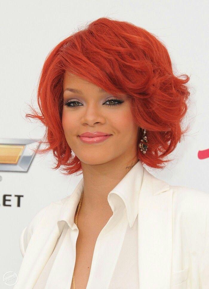 Rihanna | Short red hair, Rihanna hairstyles, Bob hairstyles