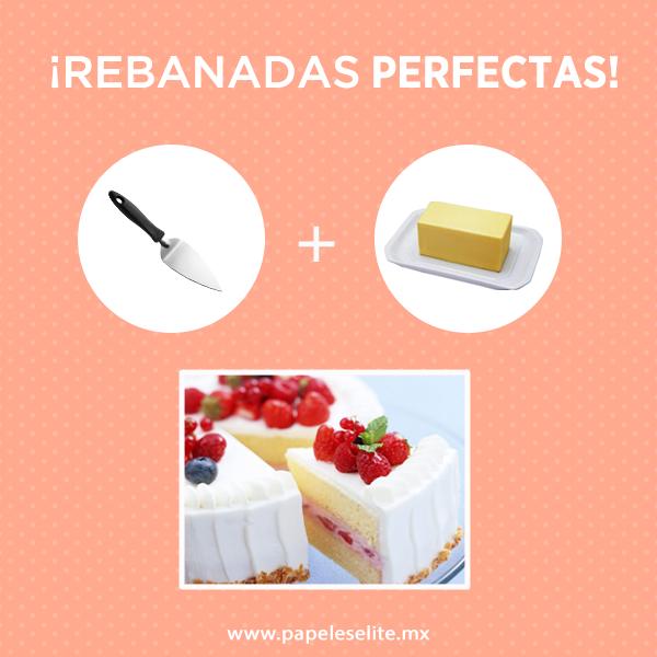 ¿Quieres rebanadas de pastel perfectas?  Unta un poco de mantequilla al cuchillo, así podrás cortar rebanadas con mayor facilidad.