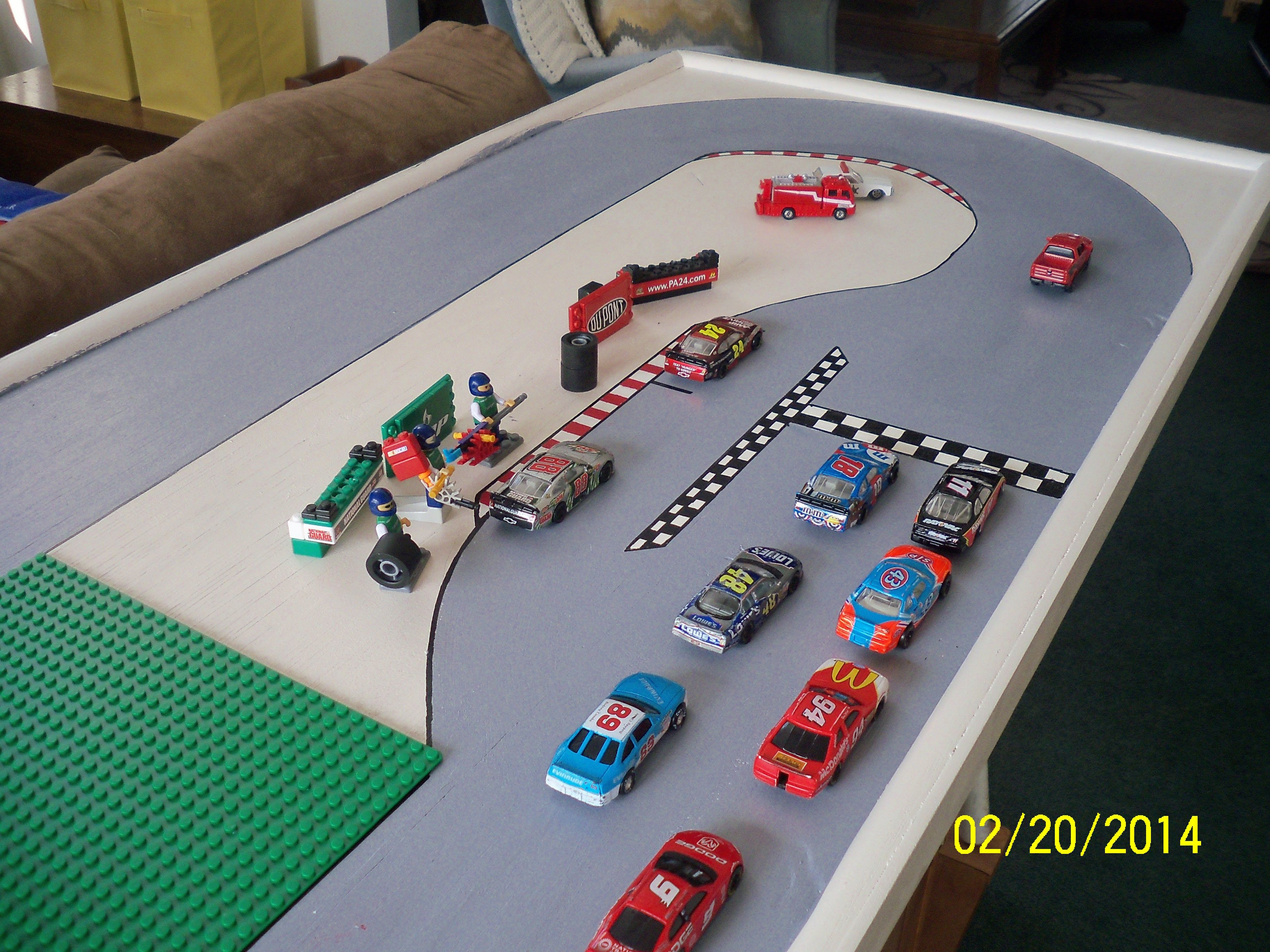 Child S Nascar Track Amp Lego Play Table For The Kids
