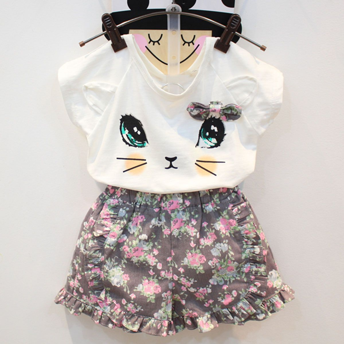b37ccb9aa4d  7.89 - Toddler Kids Baby Girls T-Shirt Tops+Floral Short Pants Outfits  Clothes 2Pcs Set  ebay  Fashion