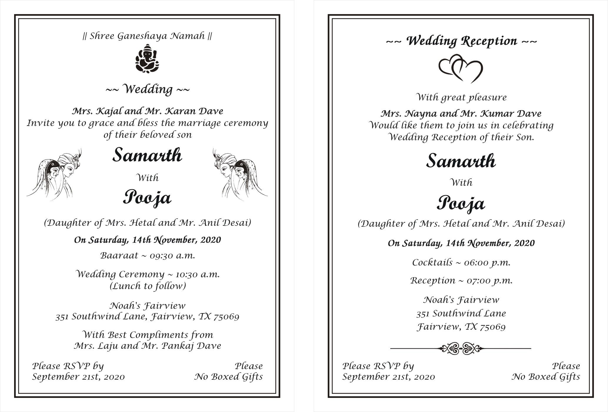 Hindu Wedding Invitation Card Wordings In 2020 Marriage