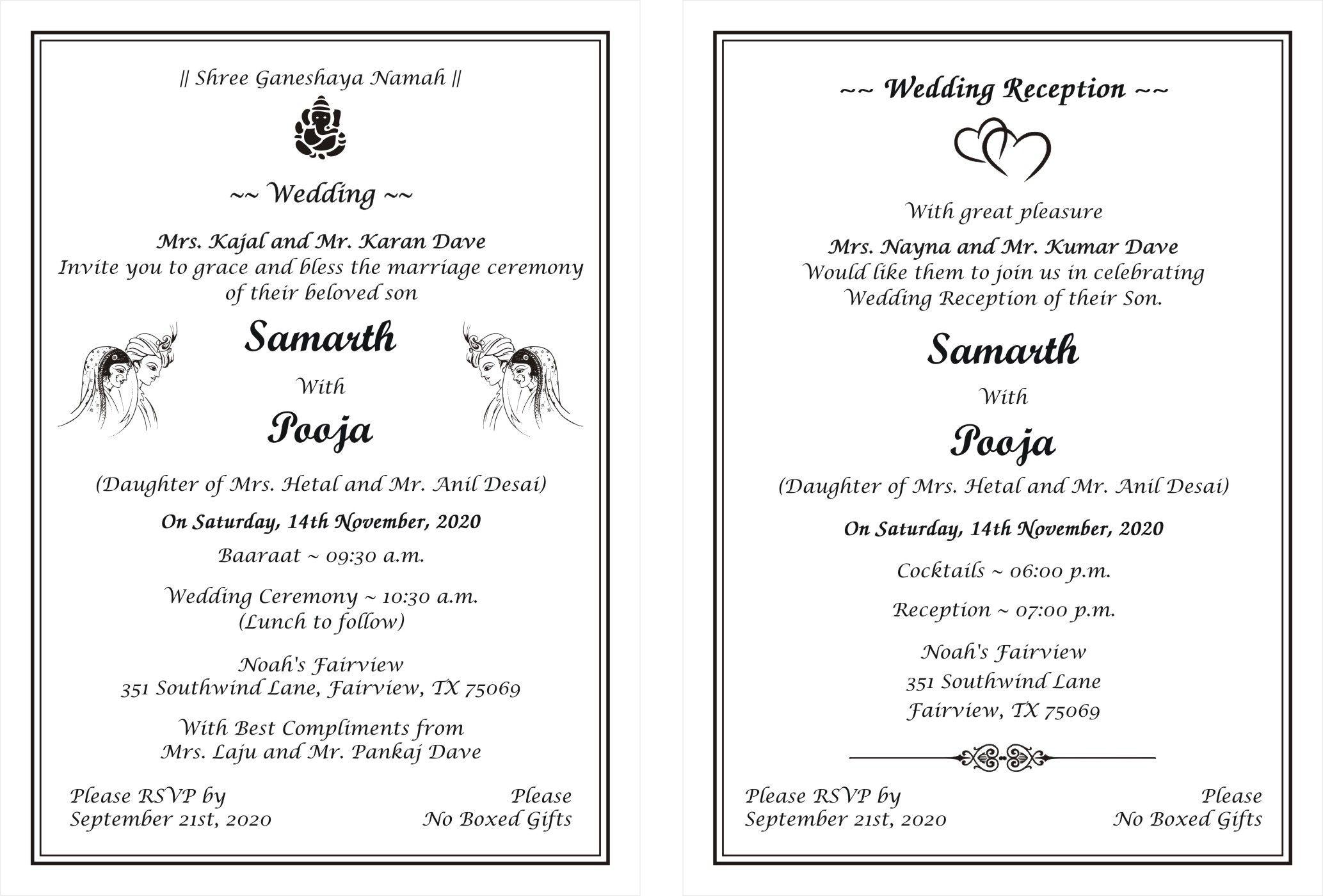 Hindu Wedding Invitation Card Wordings (With images